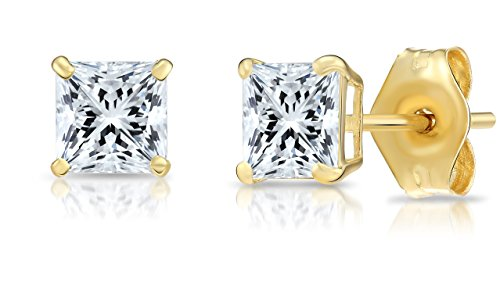 14k Yellow Gold Square Cubic Zirconia Princess-cut CZ Stud Earrings, Unisex (4mm, yellow-gold) -