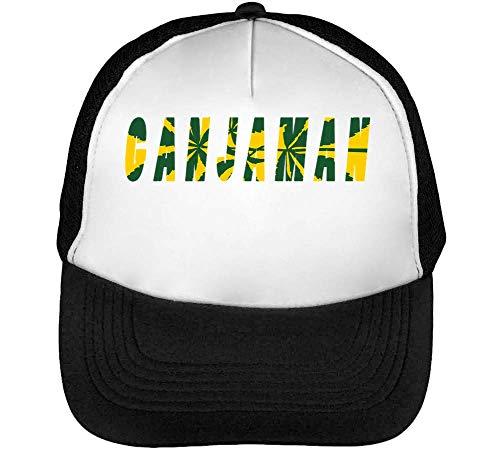 Hombre Cannabis Beisbol Designed Gorras Ganjaman Snapback Blanco Leaf Negro wHAOIpnq