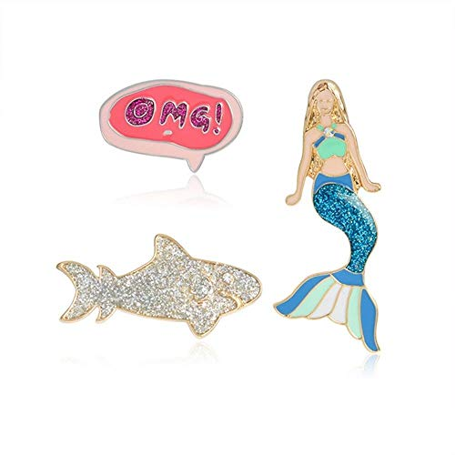 3 Piece/Set Mermaid Shark Brooches Jacket Sweater Coat Pin Badge Jewelry Gift
