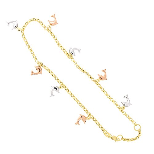 10k Tri Color Gold Dolphin Charm Rolo Chain Adjustable Anklet, 9