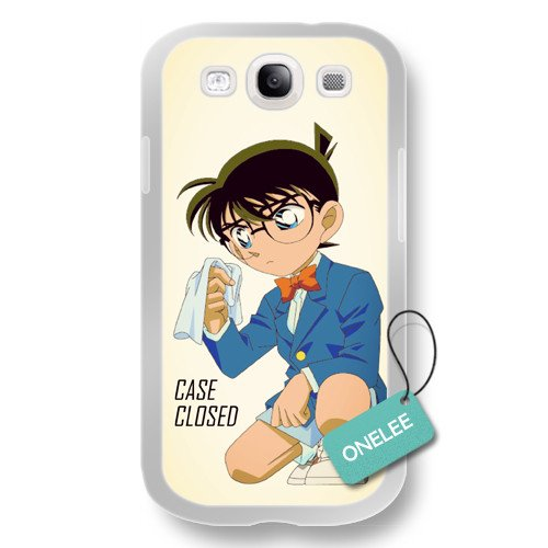 Onelee(TM) Detective Conan Soft Rubber (TPU) Samsung Galaxy S3 Case - Japanese anime Case Closed Samsung Cover - White Rubber