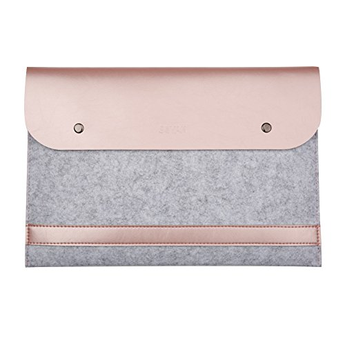 TOPCHANCES Ultra Slim Felt & PU Leather MacBook Retina Sleeve Tablet Case Cover Protective Bag Notebook Carrying Bag for MacBook (MacBook 12 inches, Rose Gold)