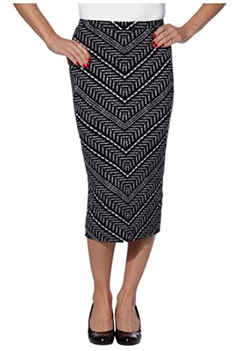 Matty M Ladies Midi Skirt Pull-on Style, Fully Lined, Knee Length (Medium, Black & White)