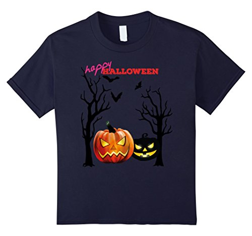 Kids New 2017 Halloween Jack O Lantern Pumpkin Night T-Shirt 12 Navy