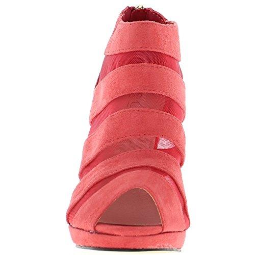ChaussMoi Low-Boots Femme Roses Ouverts à Talon DE 10,5cm et Plateau Aspect Daim