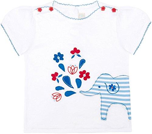 Jojo Maman Bebe Baby Girls' Pretty Elephant T Shirt, White, 18 24 Months