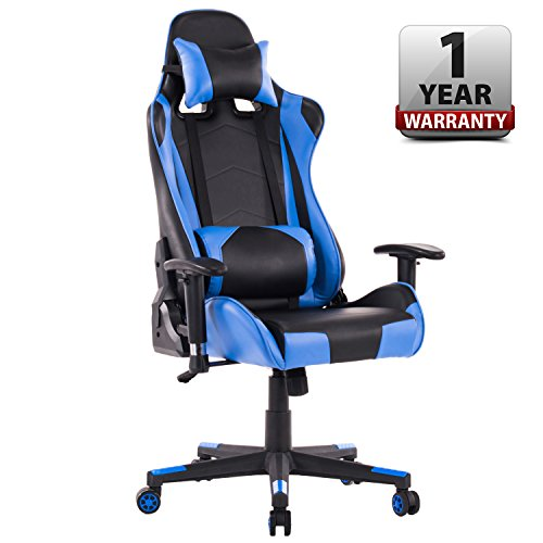 HOMEFUN PC Gaming Chair, Ergonomic Computer Game Chair, Adjustable Racing Backrest and Seat Height with Headrest and Lumbar Support (Blue/Black) by HOMEFUN