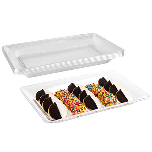 (Impressive Creations Clear Rectangular Plastic Serving Tray Platter (5 PK) 14