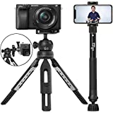 6 in 1 Monopod Tripod Kit by Altura Photo - Universal 55' Telescoping DSLR Camera, GoPro, Cell Phone Holder Selfie Stick with Tripod Base, 360 Ball Head and Carry Bag