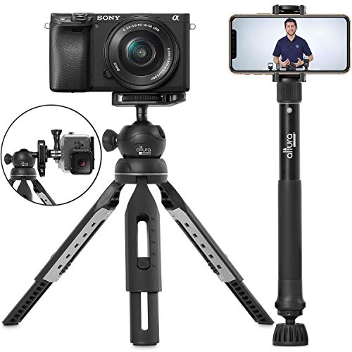 6 in 1 Monopod Tripod Kit by Altura Photo - Universal 55 Telescoping DSLR Camera, GoPro, Cell Phone Holder Selfie Stick with Tripod Base, 360 Ball Head and Carry Bag