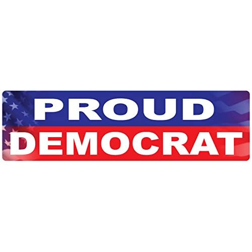 "Top BUMPER STICKER: PROUD DEMOCRAT 3"" x 10"""