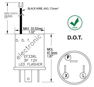 CEC Industries EF33RL Turn Signal Flasher Relay, LED Compatible, 3 + Ground Wire Prongs, 12 Volts by CEC Industries