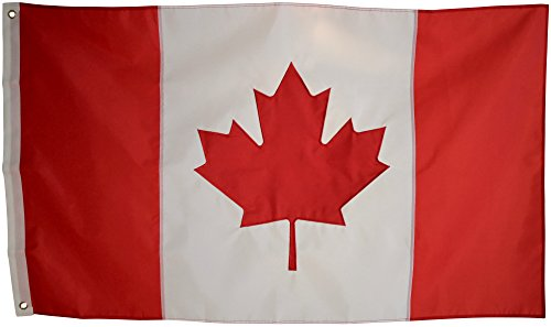 Canadian Flag - 3x5 Foot Outdoor Nylon Banner with Embroidered Maple Leaf and Individually Sewn Panels - UV Fade Resistant Material - Large 3' x 5' Red and White National Flags of Canada