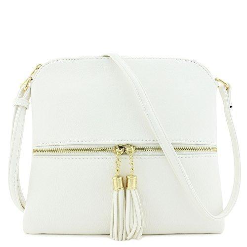 Lightweight Medium Crossbody Bag with Tassel (White) by DELUXITY