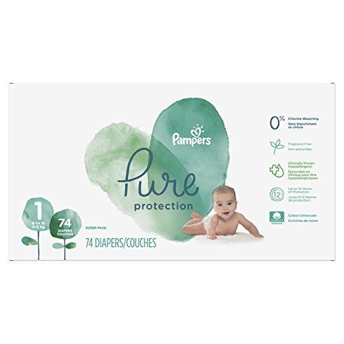 Pampers Pure Protection Newborn Disposable Diapers, Size 1 (8-14 lb), 74 Count, PURE SUPER
