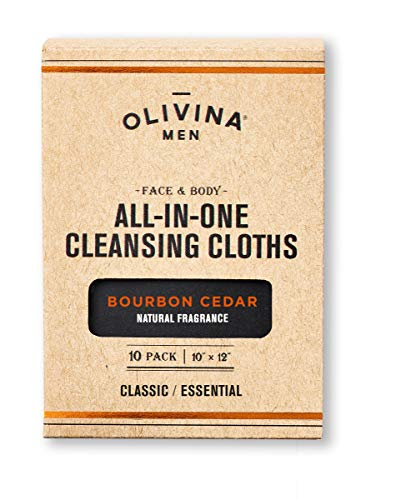 Olivina Men Face & Body All-in-One Cleansing Cloths, Bourbon Cedar, 10 ct.