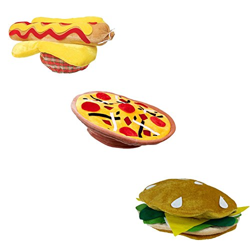Pizza Hat, Hot Dog Hat, And a Hamburger Hat BBQ Party Costume Dress up Hats