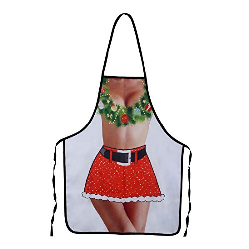 (Funny Aprons - Men Aprons Cooking Kitchen BBQ Aprons, Adult Sexy Apron BEST Halloween Cosplay Party Costume Christmas Gift (Christmas Wreath)