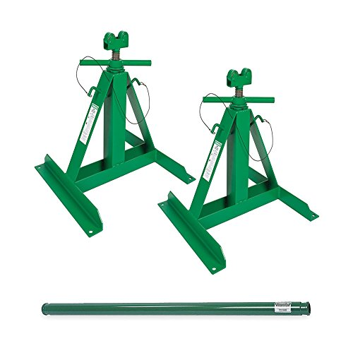 Greenlee 683 Screw Type Reel Stands Bundle w/ 684 Steel Spindle Complete Setup (2 Stands + 1 - Reel Stand Screw Type