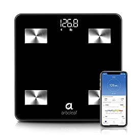 Arboleaf Weight Scale – Smart Scale Bluetooth Body Fat Scale Wireless with iOS, Android APP, Unlimited Users, Auto Recognition, 10 Body Composition Analyzer, Fat, BMI, BMR, Muscle Mass, 396 lb – Black