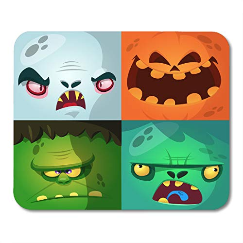 Boszina Mouse Pads Blue Halloween Cartoon Monster Faces Cute Avatars and Pumpkin Vampire Dracula Zombie Green Character Mouse Pad 9.5