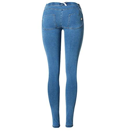 Casual Ripped Pants Skinny Jeans for Button Waist Women Fitness Ventas calientes Plus Low Denim Azul Zhuhaitf Elastic IqPxC7wAnt