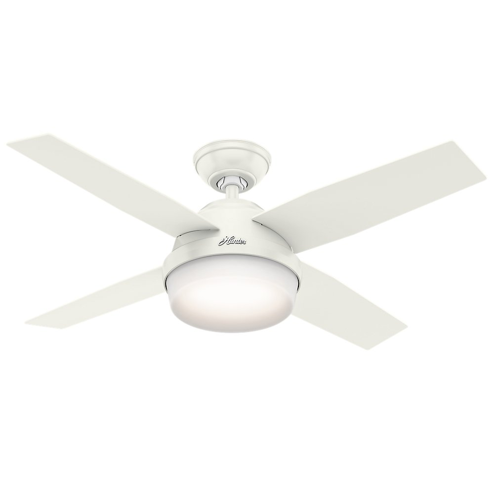 Hunter 59246 Contemporary Dempsey Fresh White Ceiling Fan With Light & Remote, 44''