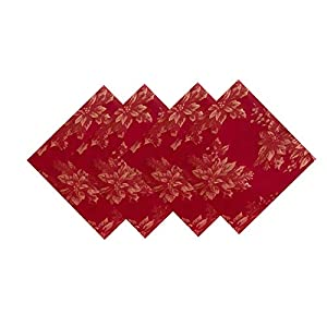 Metallic Holiday Poinsettia Damask Christmas Holiday Napkin Set – 4 Piece Napkin Set, Red/Gold