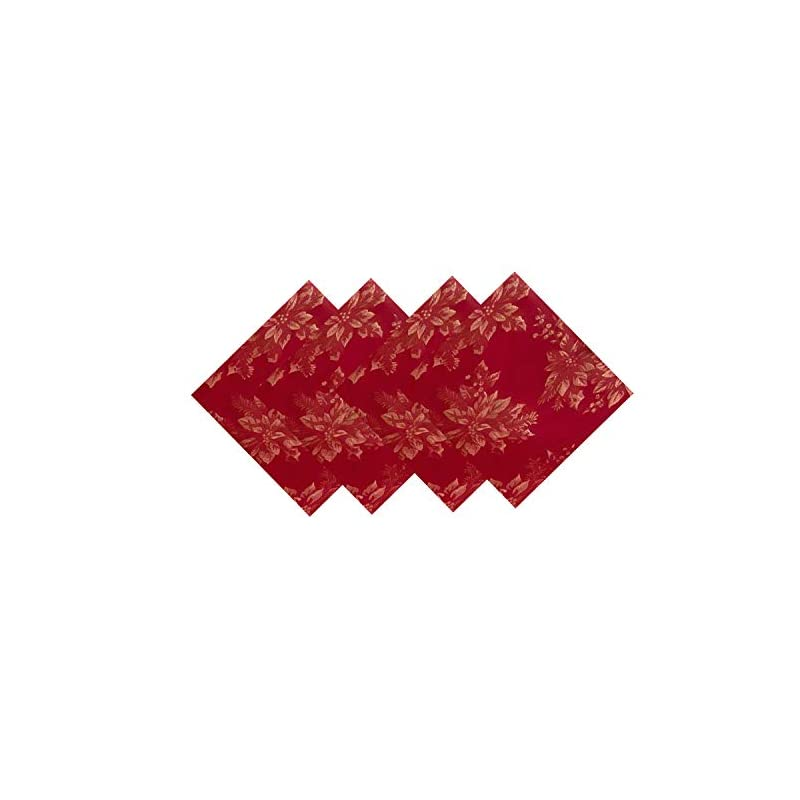 silk flower arrangements metallic holiday poinsettia damask christmas holiday napkin set - 4 piece napkin set, red/gold
