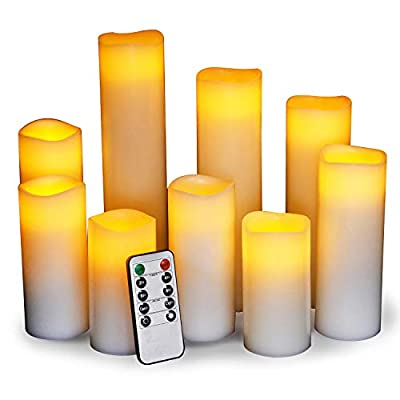 Enpornk Wavy Edge Flameless Candles LED Pillar Battery Operated Flickering Candle Set with Remote Timer Ivory Color