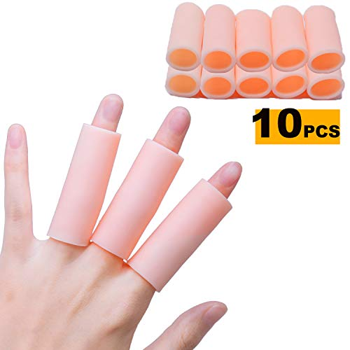 (Sumifun Finger Sleeves Protectors, Gel Finger Cots, Sporting Style Silicone Thumb Finger Caps Covers Gloved Protection for Trigger Finger, Hand Eczema, Finger Cracking)