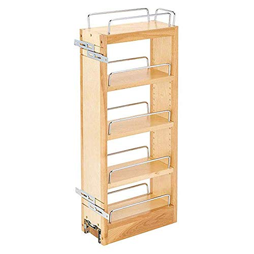 RevAShelf 448WC5C 5Inch Base Cabinet Pullout Storage Organizer with Adjustable Wood Shelves and Chrome Rails