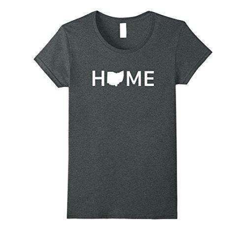 Womens Ohio Home Love U.S. State Outline Silhouette T-Shirt Small Dark Heather