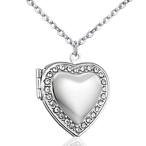 - YOUFENG Love Heart Locket Necklace Holds Pictures Paved Blue Red White CZ Rose Gold Charm Living Memory Lockets (White CZ Locket)
