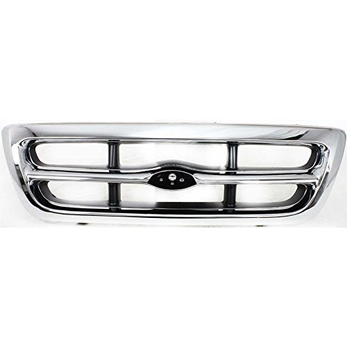 (Grille for Ford Ranger 98-00 Chrome Shell/Painted-Gray Insert 2WD XLT)