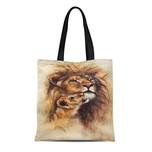 Semtomn Canvas Tote Bag Shoulder Bags Colorful Airbrush Loving Lion and Her Baby Cub Women's Handle Shoulder Tote Shopper Handbag