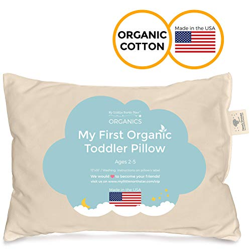 Toddler Pillow - Organic Cotton Made in USA - Washable Unisex Kids Pillow - ()