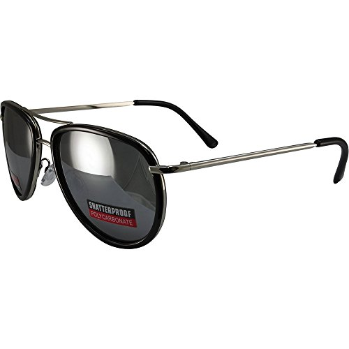 Swag Aviator Sunglasses Black Trimmed Frames with Flash Mirror Lenses by Swag!