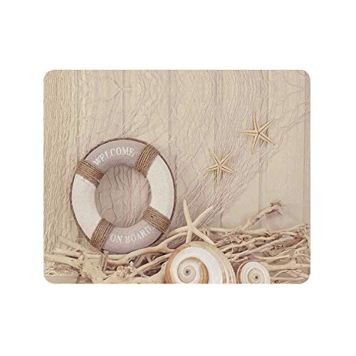 Coastal Durable Rectangle Mousepad,Welcome On Board Life Buoy Wooden Sepia Fishnet Holiday Maritime Theme Print for Company,9.84