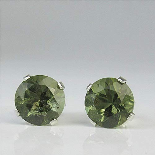 Czech Faceted Round Olive - Moldavite 6mm Round Sterling Silver Stud Earrings
