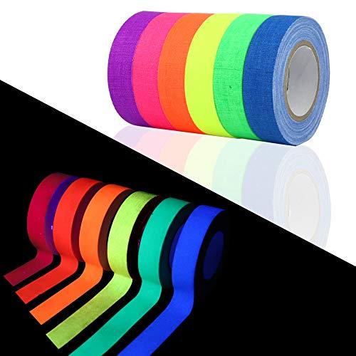 HEHALI 12 Pack Tape UV Blacklight Reactive,6 Colors, 30ft Per Roll, Fluorescent Cloth Tape/Neon Gaffer Tape