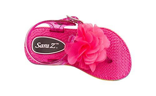 Sara Z Toddler Girl's Jelly Thong Slingback Flat Sandal with Chiffon Blossom With Flower 11/12 Fuchsia