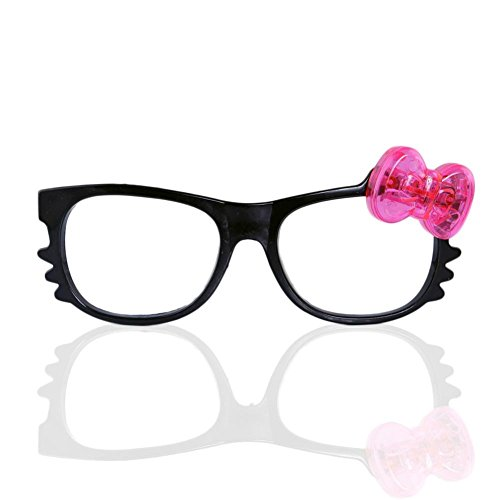 12 Pairs of LED Flashing Hello Kitty Bow Light Up Party Glasses Shades (Black - With Glasses Hello Bow Kitty