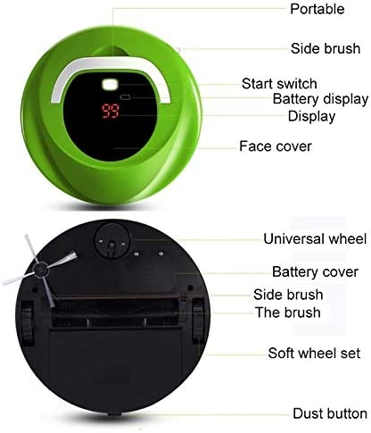 Robot aspirateur CGL GNHT FD-RSW (C) Robot intelligent des ménages Balayer Cleaner Machine (vert) (Color : Red) Green