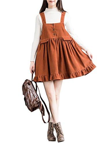 Gihuo Women's Corduroy Suspender Skirt Bib Overalls Mini Dress Trimmed with Flounces (Orange, Large) (Ruffle Trimmed Suspender)