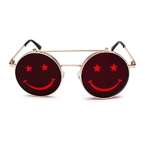Clásico metal Gafas de de polarizado punk Rojo Hippie no Flip redondo Dorado retro estilo marco Smiley sol marco FAq1wZrFn