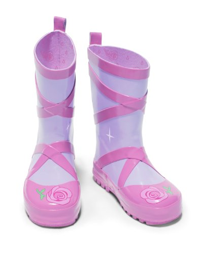 Ballet Heel Boots - Kidorable Ballerina Rainboots, Pink, Size 7 M US, Natural Rubber Boots with Cotton Lining, Pull On Heel Tab & Non-Slip Sole