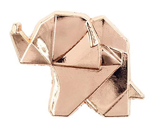Little Shop of Pins Rose Gold Origami Elephant Enamel Pin - Gold Enamel Elephant