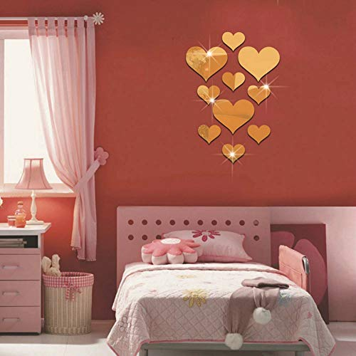 Youmymine 3D Wall Sticker Love Heart Acrylic Mirror Wall Panel Removable Home -