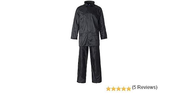 Conjunto de trabajo de lluvia MyShoeStore®, unisex, de alta visibilidad, con capucha, con chaqueta y pantalones, impermeable, PVC, talla S a 4XL, ...